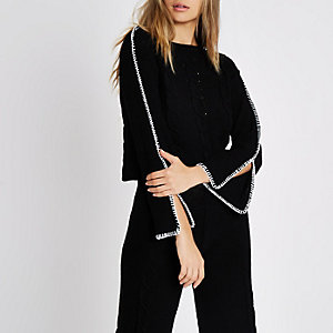 Black cable knit contrast stitch sweater