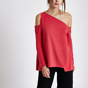 Pink asymmetric one shoulder knitted top