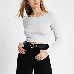 Light blue rib knit strappy detail crop top