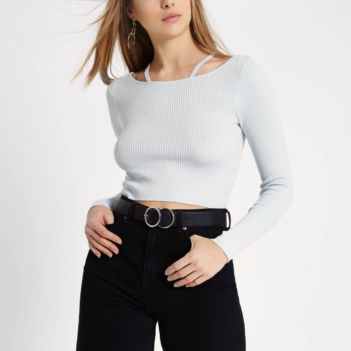 Light blue rib knit strappy detail crop top
