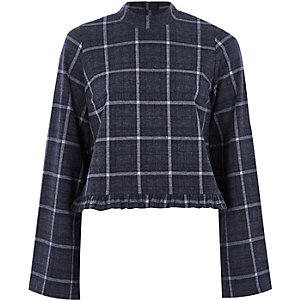 Dark grey check frill hem high neck top