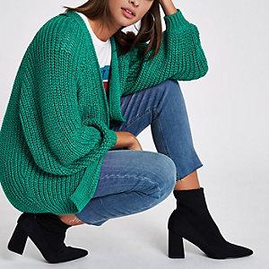Green chunky knit tape yarn cardigan
