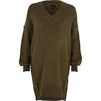 Pulloverkleid in Khaki mit V-Ausschnitt