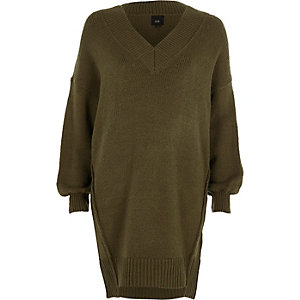Khaki green V neck sweater dress