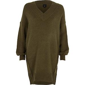 Kakigroene trui-jurk met V-hals