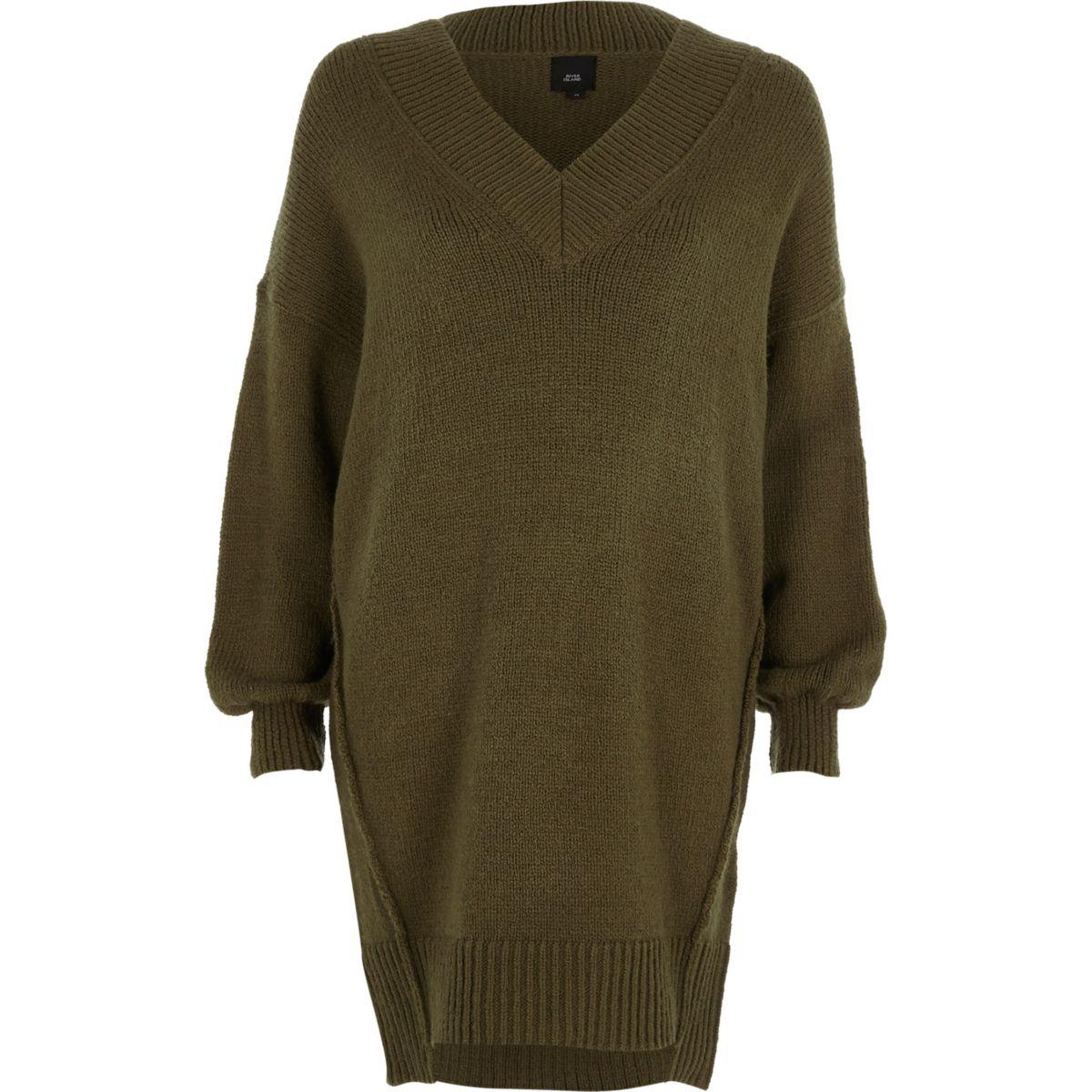Khaki green V neck jumper dress
