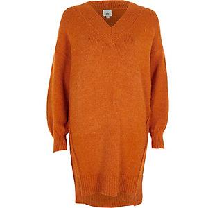 Pulloverkleid mit V-Ausschnitt in Orange