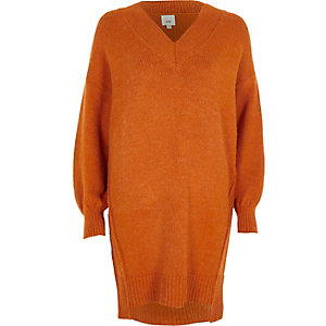 Orange V neck sweater dress
