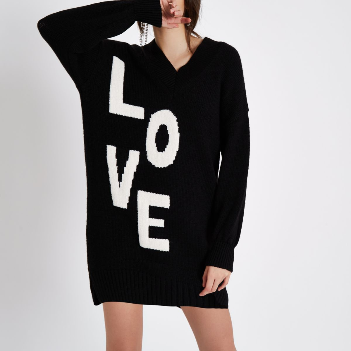 Black 'love' V neck sweater dress