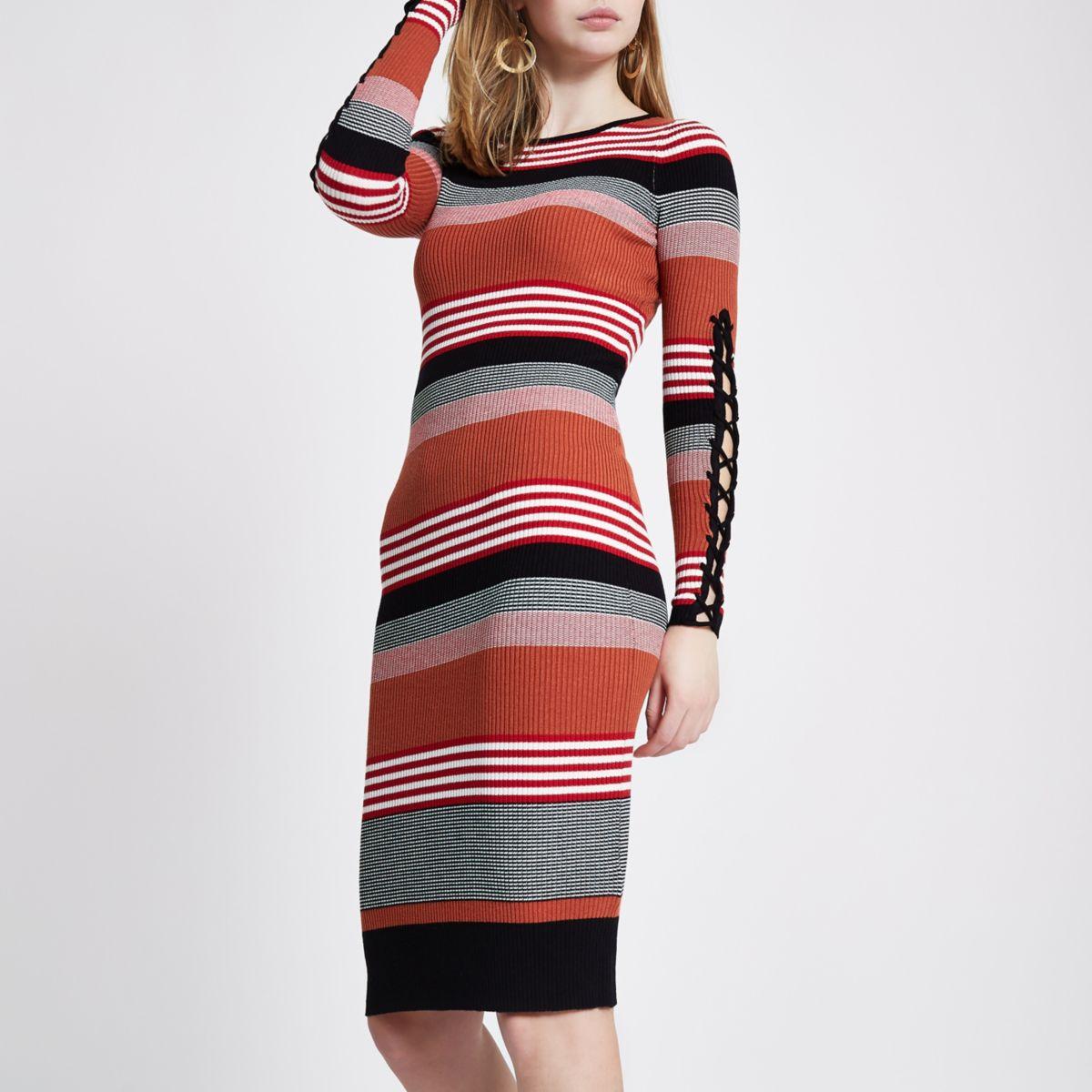 Tan stripe rib knit lace-up sleeve midi dress