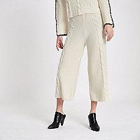 Cream cable knit culottes