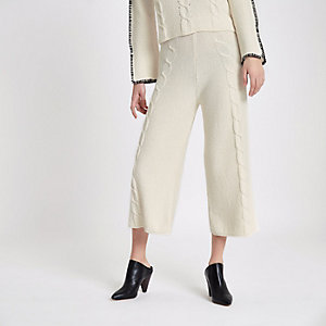 Cream cable knit culottes