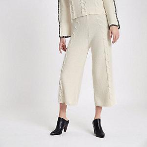 Jupe-culotte en maille torsadée crème