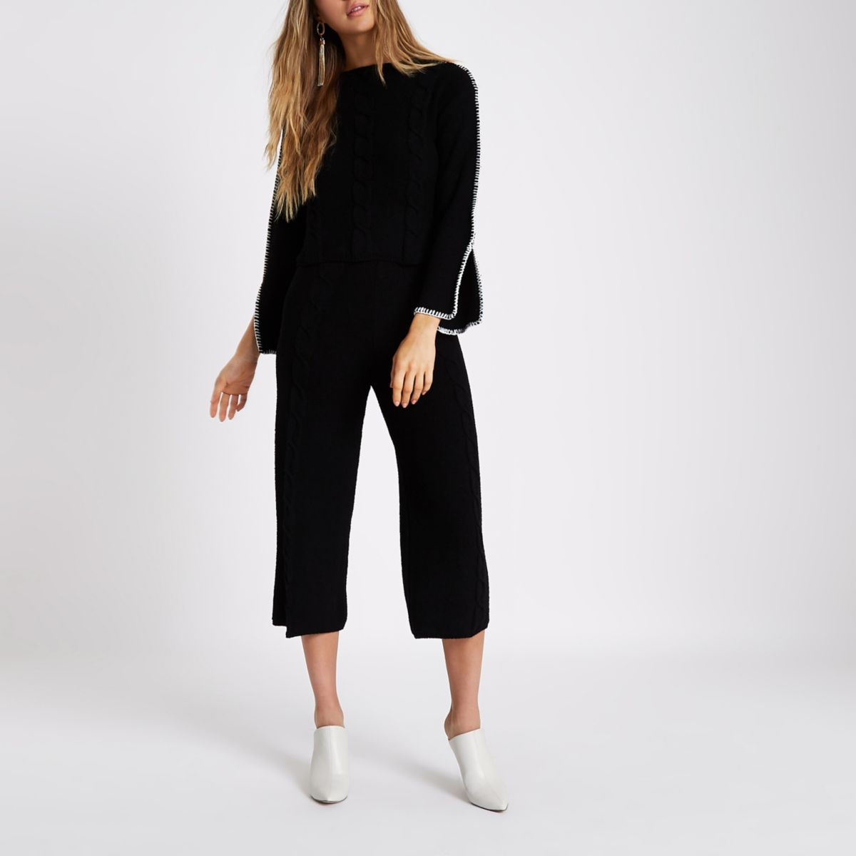 Black cable knit culottes