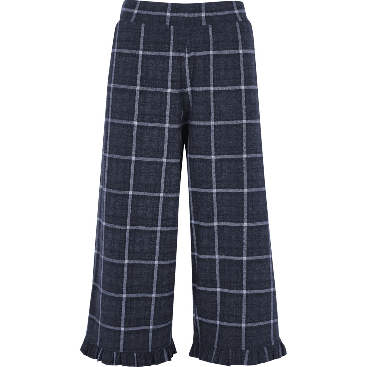 Dark grey check frill hem culottes