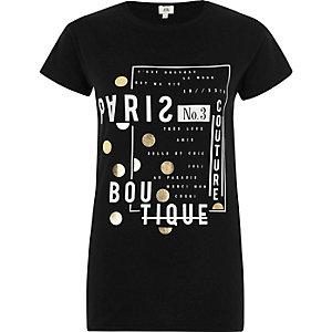 Zwart aansluitend T-shirt met 'Paris boutique'-print