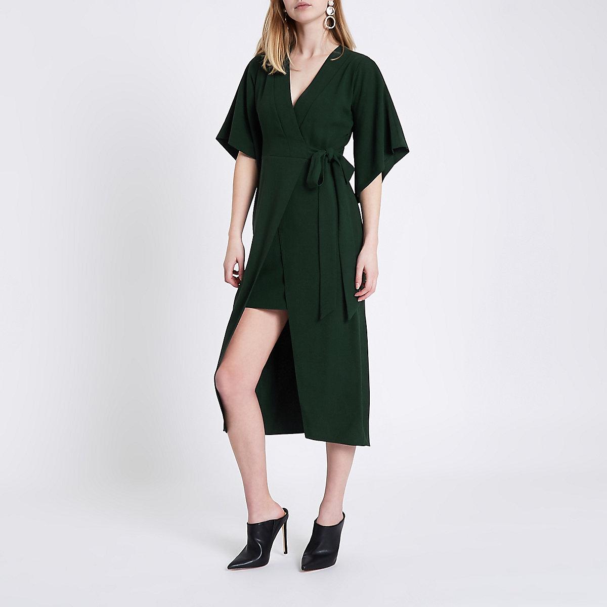 Green wrap front kimono sleeve midi dress