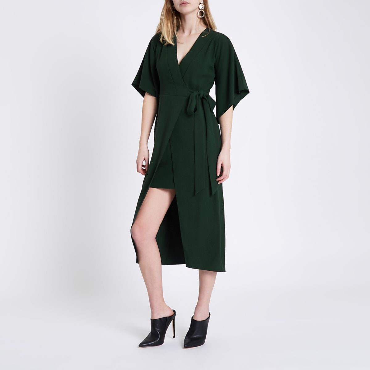 Green wrap front kimono sleeve midi dress