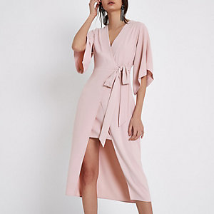 Light pink wrap front kimono midi dress