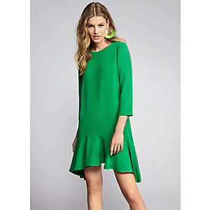 Green tie back frill hem swing dress
