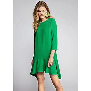 Green tie back frill hem swing dress