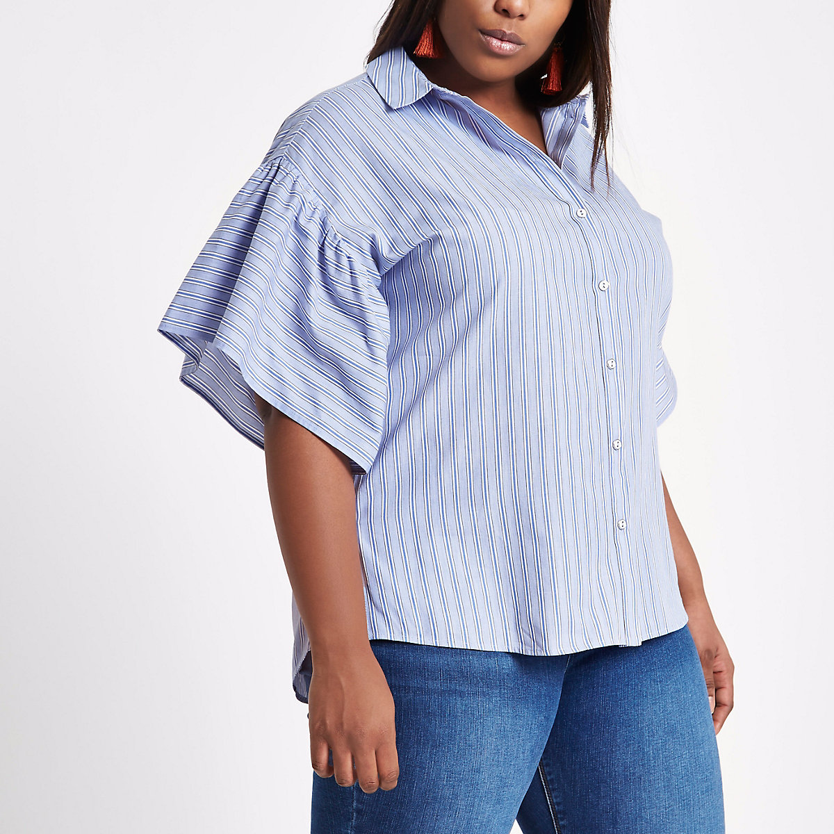 Plus blue stripe short bell sleeve shirt