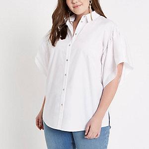 Plus white oversized frill shirt