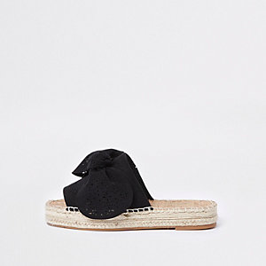 Black wide fit laser cut bow espadrille mules