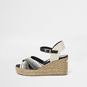 Cream cross strap espadrille wedge sandals