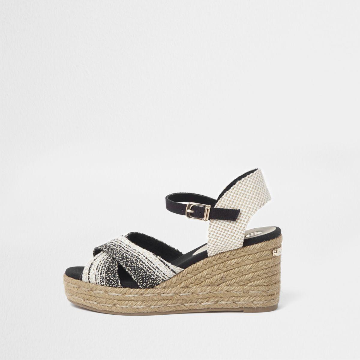 Cream cross strap espadrille wedge sandals