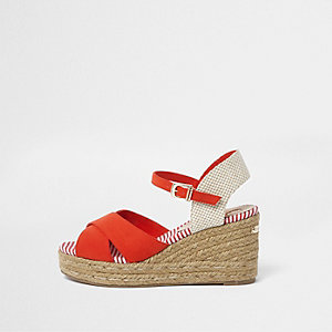 Red cross strap espadrille wedge sandals