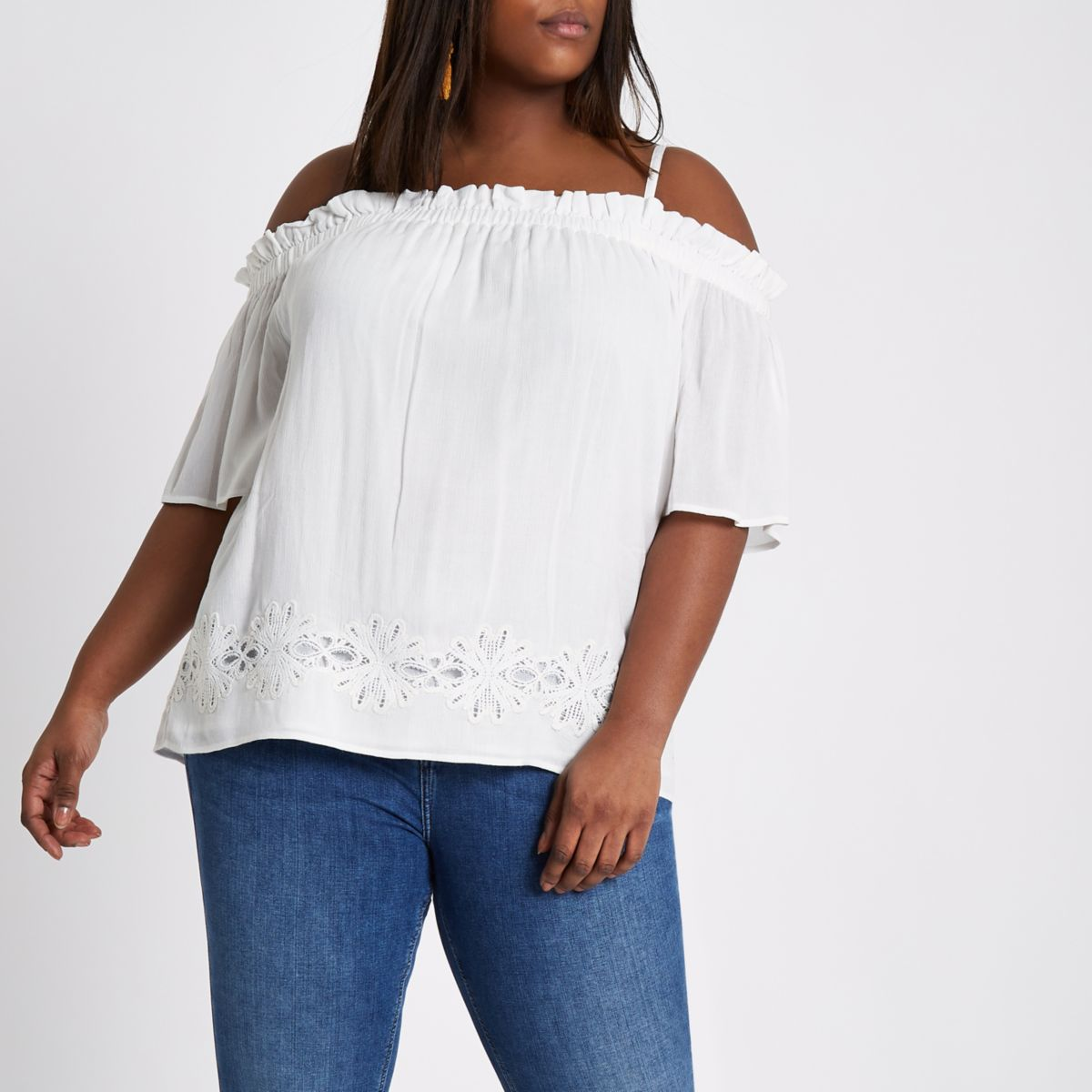 Plus cream shirred bardot top