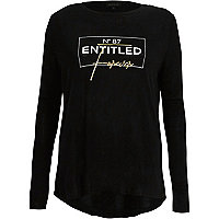 Black 'entitled' foil long sleeve T-shirt