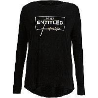 T-shirt «entitled» métallisé noir à manches longues