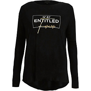 Zwart T-shirt met lange mouwen en folieprint 'entitled'