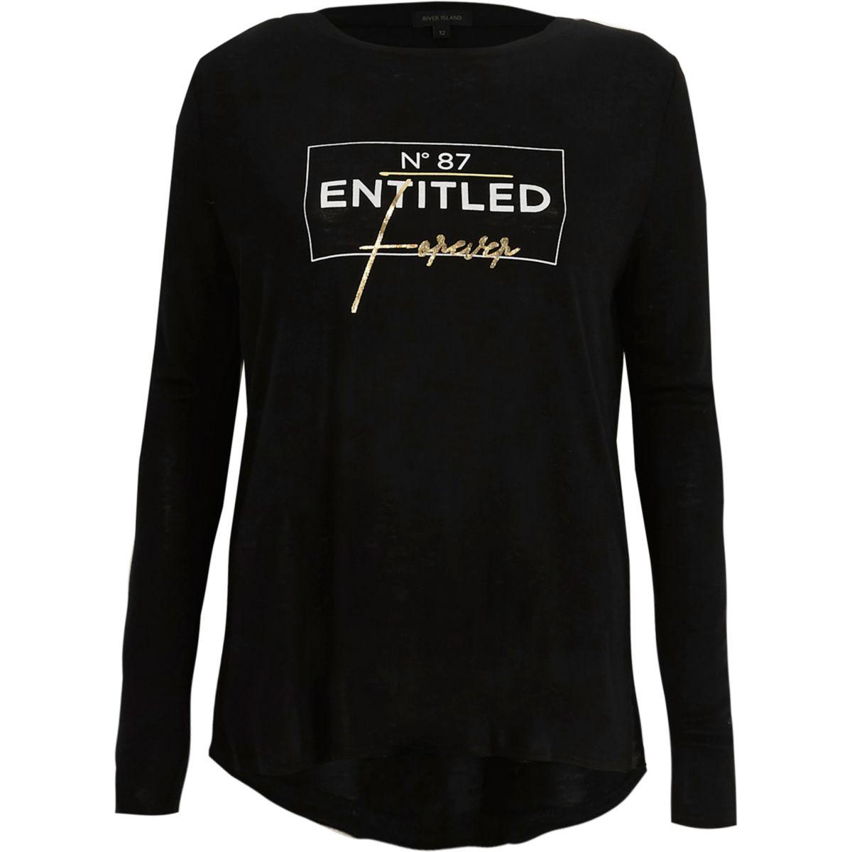 Black 'entitled' foil long sleeve T-shirt