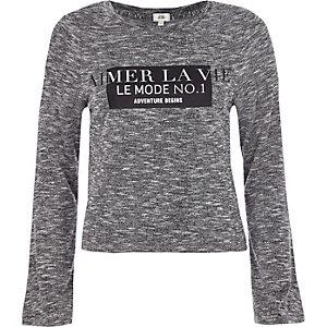 Grijs T-shirt met 'aimer la vie'-print en lange uitlopende mouwen