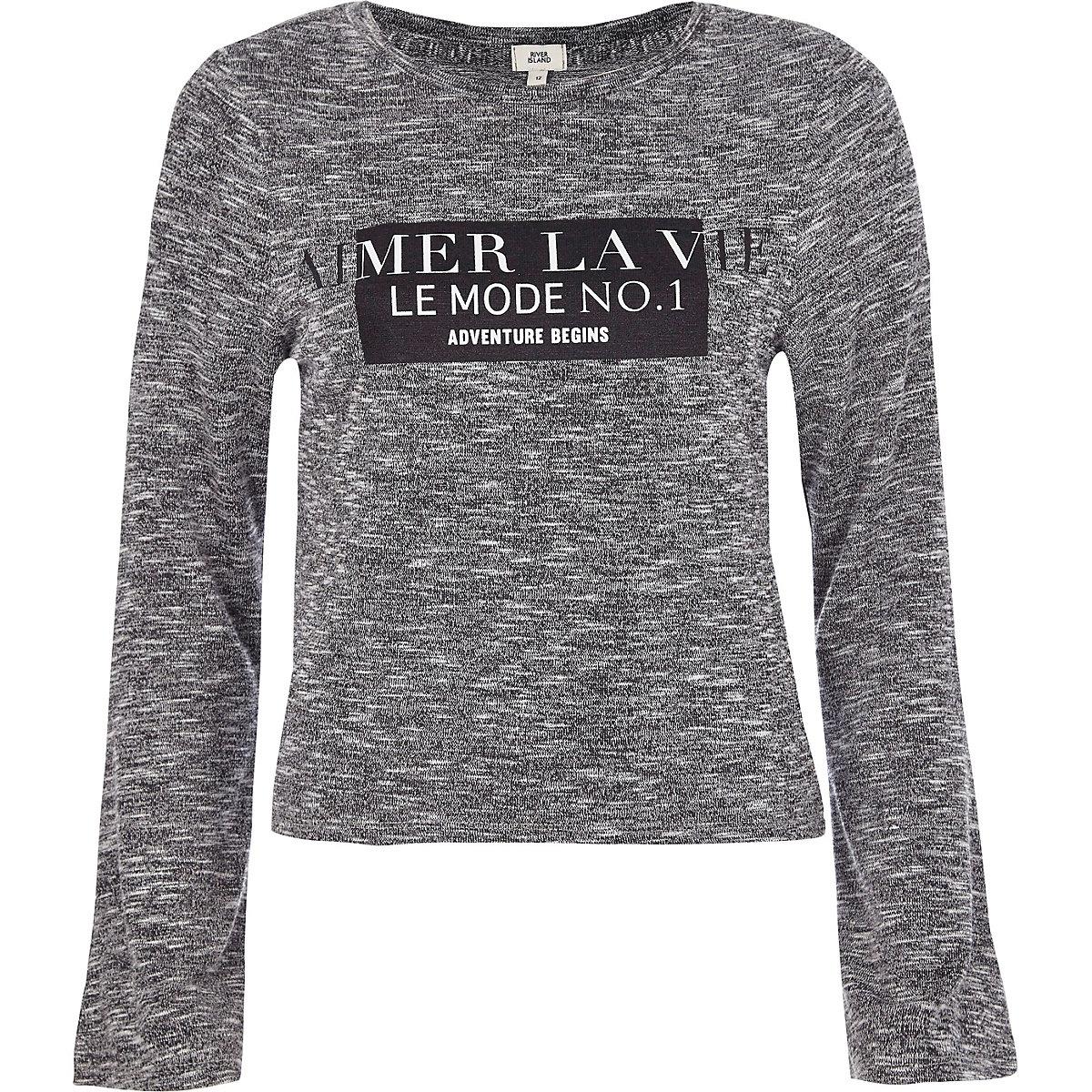Grey 'aimer la vie' long flare sleeve T-shirt