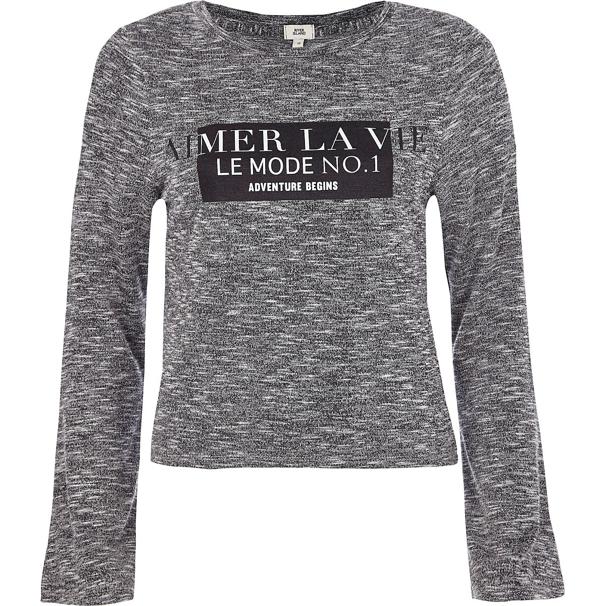 Grey 'aimer la vie' long flare sleeve T-shirt
