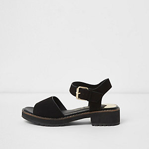 Black rhinestone trim chunky sandals