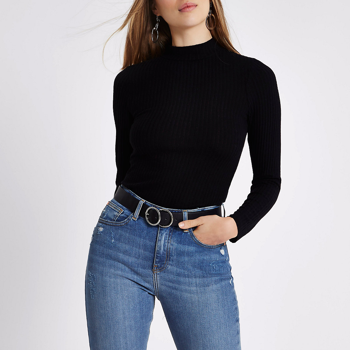 Black ribbed high neck fitted top - T-Shirts - Tops - women 46bba4978b