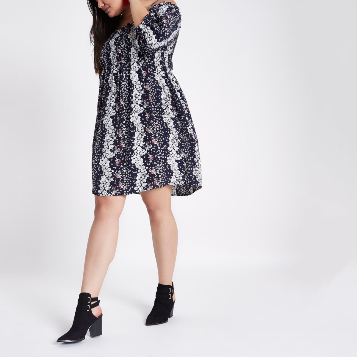 Plus blue shirred bardot smock dress
