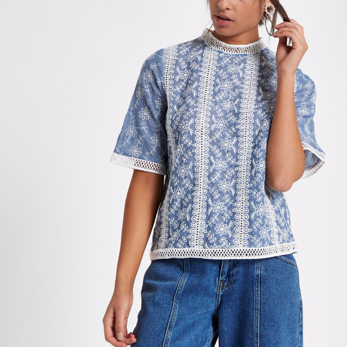 Blue floral embroidered lace trim top
