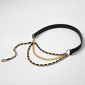 Black triple chain front waist belt