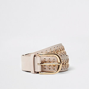 Nude chain insert jeans belt