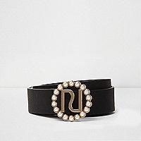 Black faux pearl buckle detail belt