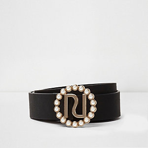 Black faux pearl buckle detail belt