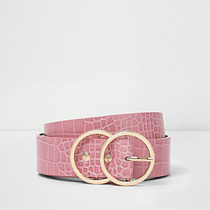 Light pink croc embossed double ring belt