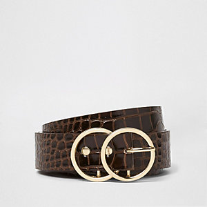 Dark brown croc embossed double ring belt