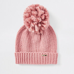 Pink turn-up hem knit beanie hat